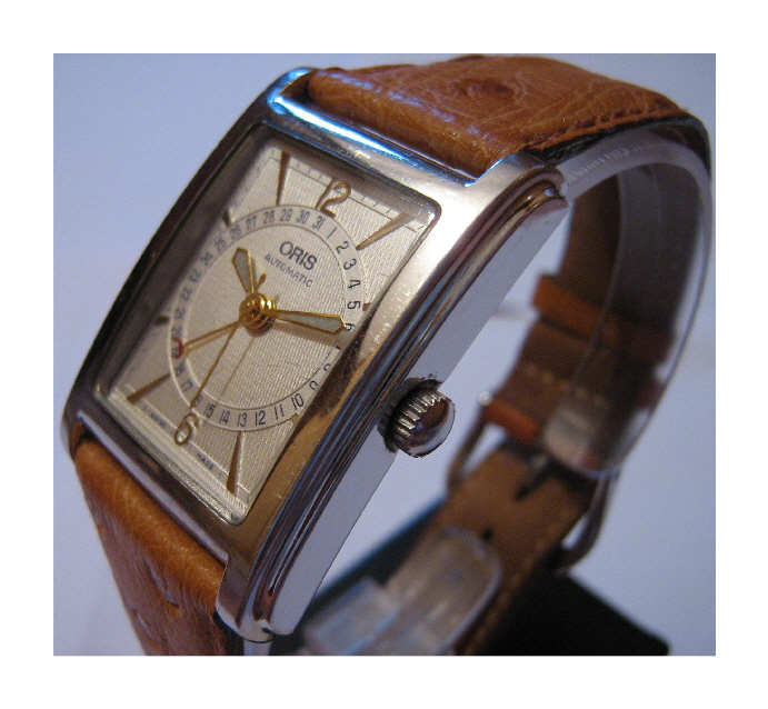 Used Oris Rectangular Pointer Date, Silver Dial, Brown Leather Strap