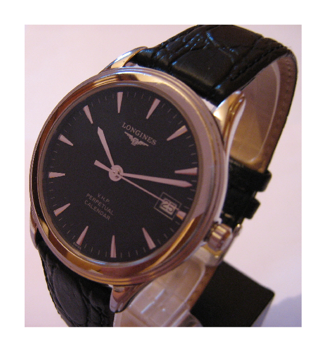 Longines Flagship VHP Watch, Black Dial, Leather Strap & Steel Bracelet
