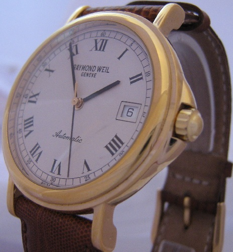 Raymond Weil Tradition Gold Watch, White Dial, Leather Strap
